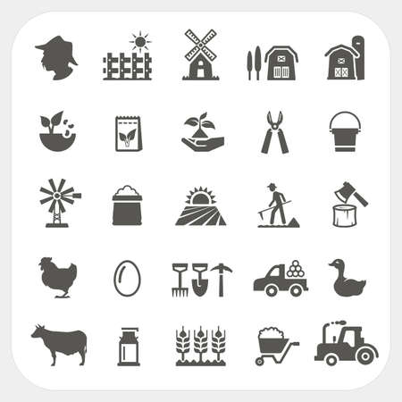 pasturage: Farm and agriculture icons set Illustration