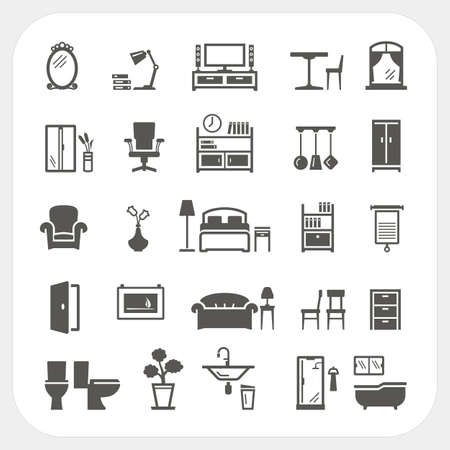 garden chair: Furniture icons set, Home Interior Objects Illustration