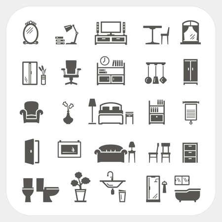 letti: icone di mobili set, oggetti Interno di casa Vettoriali