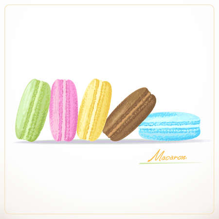 mucky: Colorful French Macarons on the white background Illustration