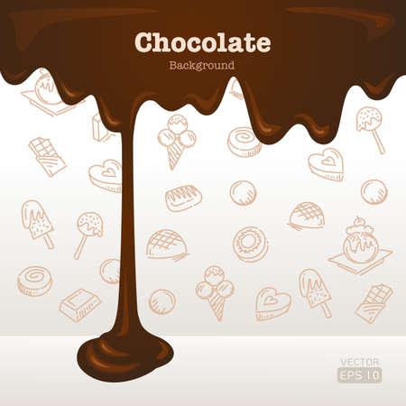fondo de chocolate fundido con iconos de postre