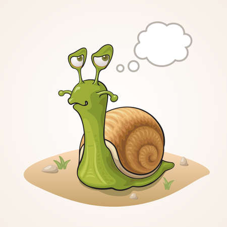 Cute cartoon Snail thinking on the ground
