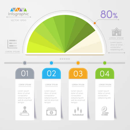 grafica de barras: Infografía plantilla de diseño con iconos, diagrama de proceso, ilustración vectorial