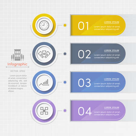 Infographics design template with business icons, process diagram, vector eps10 illustration Stock Illustratie