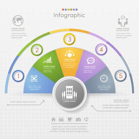 Infographics ontwerpsjabloon met business pictogrammen, processchema, vectoreps10 illustratie
