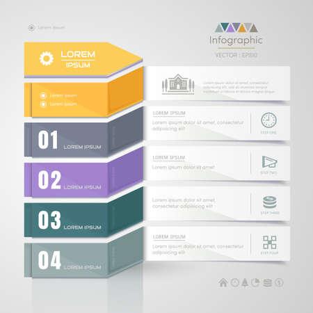 Modello di progettazione di infographics con le icone di affari, diagramma trattato, illustrazione di vettore eps10