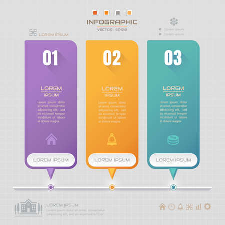 Infographics design template with business icons, process diagram, vector eps10 illustration Illustration