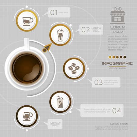 Infographics-Kaffeegestaltungsschablone mit Ikonen, Prozessdiagramm, Illustration des Vektors eps10 Standard-Bild - 74224586