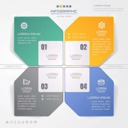 Infographics square design template with icons, process diagram, vector eps10 illustration Stock Illustratie