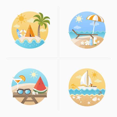 watermelon boat: Summer holiday icons set