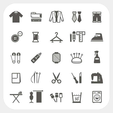 zip tie: Sewing equipment icons set isolated on white background