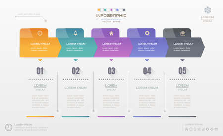 Infographics design template with icons, process diagram, vector eps10 illustration Vettoriali