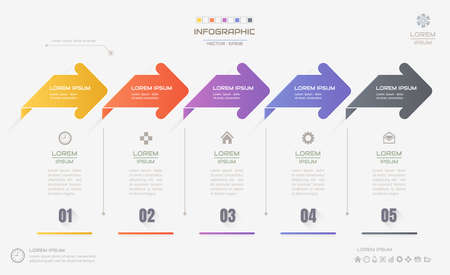 Infographics design template with icons, process diagram, vector eps10 illustration Vectores