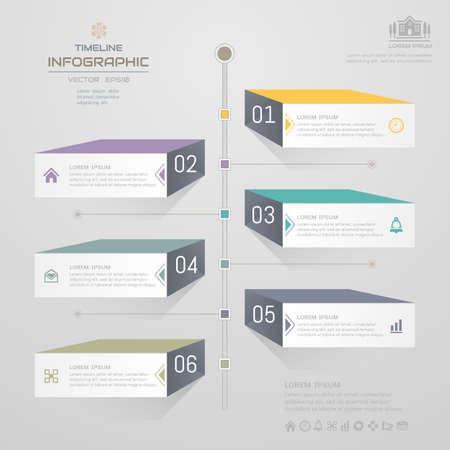 Timeline infographics design template with icons, process diagram, vector eps10 illustration Vektoros illusztráció