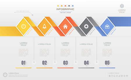Het ontwerpmalplaatje van Infographics met pictogrammen, procesdiagram, vectoreps10-illustratie Stock Illustratie