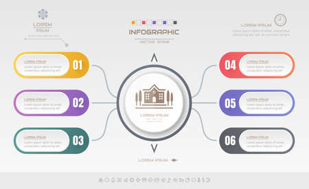Infographics design template with icons, process diagram, vector eps10 illustration Ilustração
