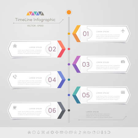 Timeline infographics design template with icons, process diagram, Çizim