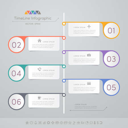 Timeline infographics design template with icons, process diagram, vector eps10 illustration