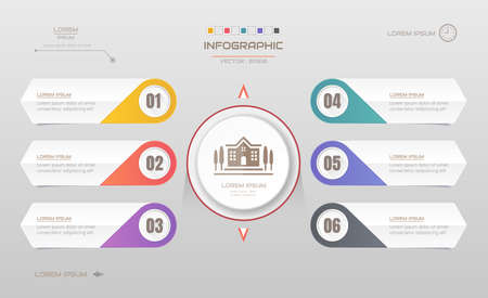 Infographics design template with icons, process diagram, vector  illustration