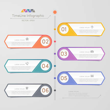 Timeline infographics design template with icons, process diagram, vector  illustration