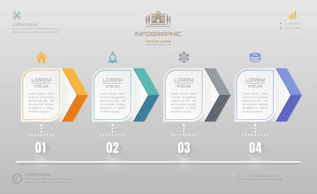Infographics design template with icons, process diagram, vector eps10 illustration  イラスト・ベクター素材