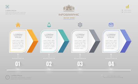 Infographics ontwerpsjabloon met pictogrammen, diagrammen voor bedrijfsprocessen, vectorillustratie eps10