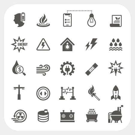 Conjunto de iconos de energía y potencia