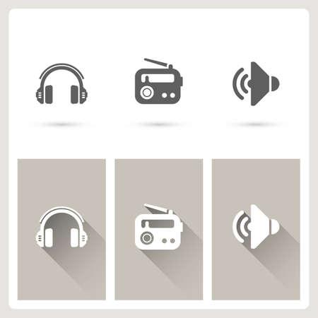 Headphone and radio icons Standard-Bild - 109407716
