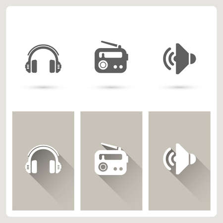 Headphone and radio icons Illustration