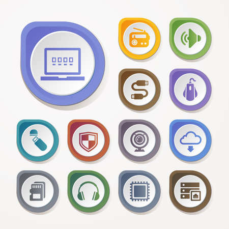 Computer, Technology hardware icons set