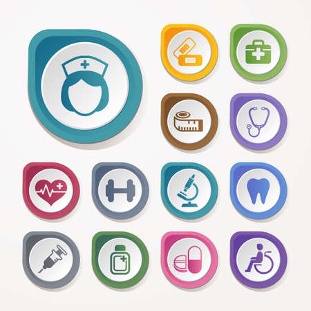 Medical and health icons set Standard-Bild - 110253564