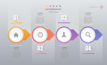Modèle de conception d'infographie avec icônes, diagramme de processus