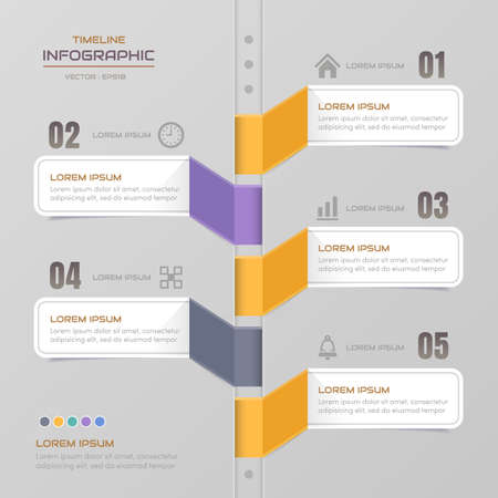 Timeline infographics design template with icons, process diagram Standard-Bild - 127763825