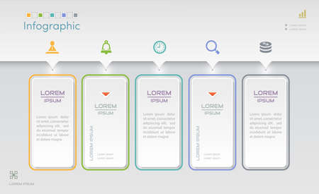 Infographics design template with icons, process diagram, vector   illustration Standard-Bild - 127934765