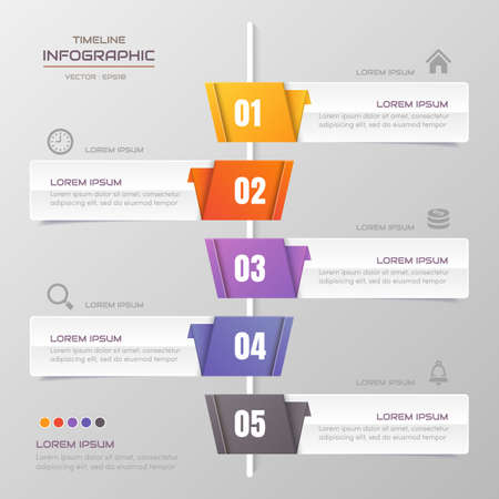 Timeline infographics design template with icons, process diagram, vector eps10 illustration Standard-Bild - 131574687