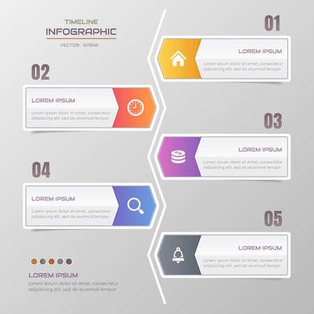 Timeline infographics design template with icons, process diagram, vector  illustration Standard-Bild - 132261239