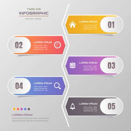 Timeline infographics design template with icons, process diagram, vector eps10 illustration Standard-Bild - 131574992