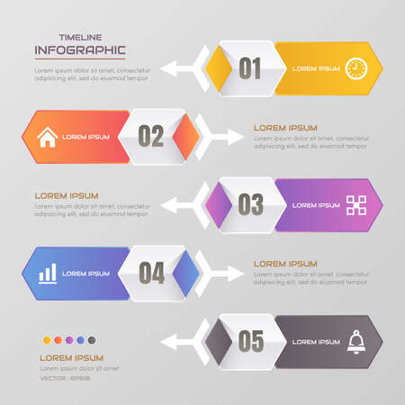 Timeline infographics design template with icons, process diagram, vector eps10 illustration Standard-Bild - 131574994