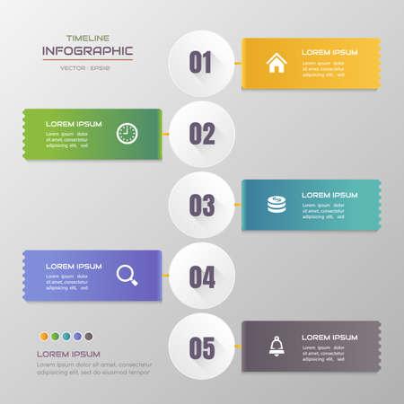 Timeline infographics design template with icons, process diagram, vector eps10 illustration Standard-Bild - 131575128