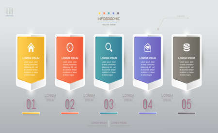 Infographics design template with icons, process diagram, vector eps10 illustration Standard-Bild - 131575590