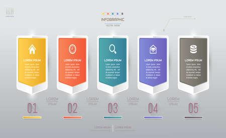 Szablon projektu infografiki z ikonami, schemat procesu, ilustracja wektorowa eps10 Ilustracje wektorowe