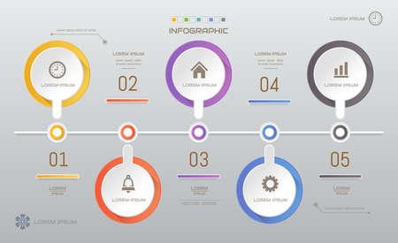 Infographics design template with icons, process diagram, vector eps10 illustration Ilustração