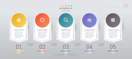 Infographics design template with icons, process diagram, vector eps10 illustration Standard-Bild - 132665590