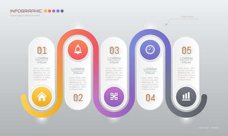 Infographics design template with icons, process diagram, vector eps10 illustration Standard-Bild - 136100791