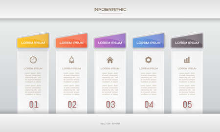 Infographics design template with icons, process diagram, vector eps10 illustration Standard-Bild - 137855833