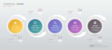 Infographics design template with icons, process diagram, vector illustration Illustration