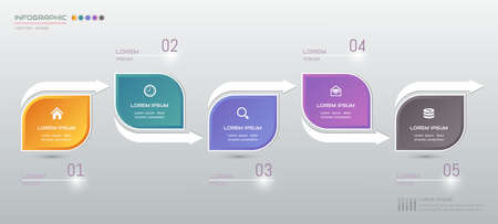 Infographics design template with icons, process diagram, vector illustration Standard-Bild - 145566084