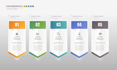 Infographics design template with icons, process diagram, vector illustration Standard-Bild - 145566101