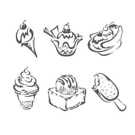 Ice cream icons set isolated on white background Standard-Bild - 164482270
