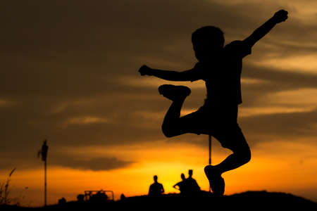 purely: Naturally, the children often like to play with, like jumping, especially boys. The morning light To see only black children purely magnificent.